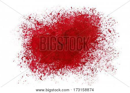 Sprayed red stain. Grunge abstract background. Space for your own text. Raster illustration
