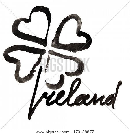 Ireland. Four leaf Irish clover and lettering over white background