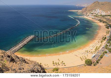 picturesque view on Teresitas beach on Tenerife island, Spain