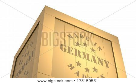 Import - Export Wooden Crate. Made In Germany. 3D Illustration