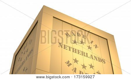 Import - Export Wooden Crate. Made In Netherlands. 3D Illustration