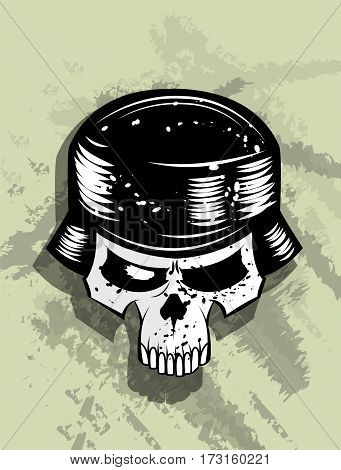 Skull in helmet of soldier. Layered vector illustration. Can be use as print