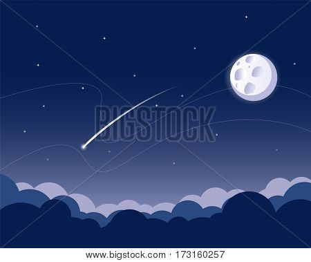 Starry night sky background with full moon, clouds and stars and comet. Vector illustration.