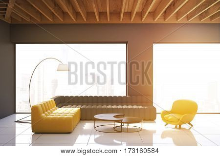 Gray Living Room With Panoramic Windows, Toned