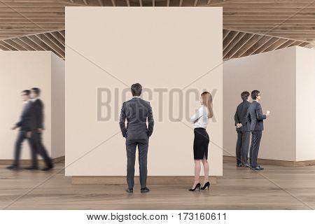 Art Gallery Wooden Floor, Ceiling, People