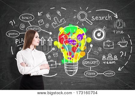 Portrait of a serious businesswoman standing with crossed arms near a blackboard with a creative and colorful idea sketch.
