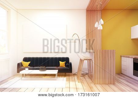 Living Room With Black Sofa In A Studio, Toned