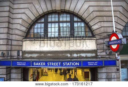 LONDON, ENGLAND - JANUARY 15, 2017 Baker Street Metro Subway Station London England. Tube Metro station Baker Street home of fictionary character Sherlock Holmes favorite detective Sherlock Holmes created by Arthur Conan Doyle