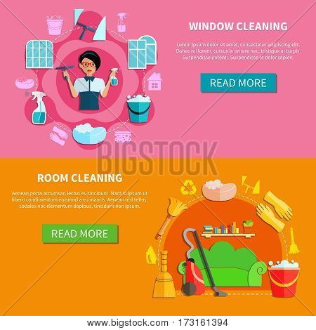Room and window cleaning horizontal banners set with furniture cleaning utensils signs and read more button vector illustration