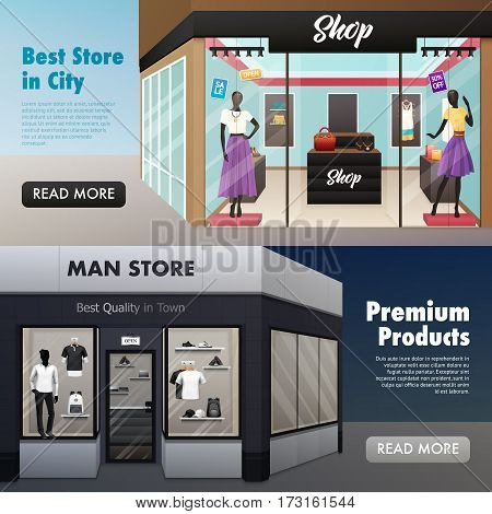 Set of two horizontal beauty shop banners with mens wear ladies clothes fashion store with text vector illustration