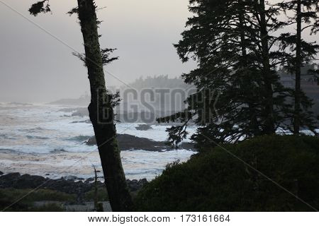 Grey and black stormy day Ucluelet BC