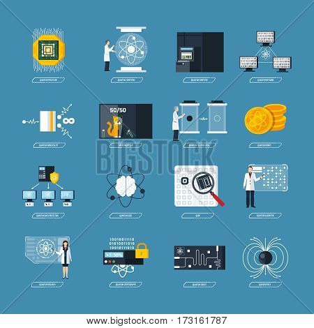 Quantum physics flat decorative icons set of processor logic qubit teleportation atomic structure cryptography symbols isolated vector Illustration