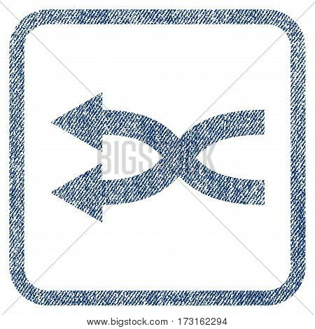 Shuffle Arrows Left vector textured icon for overlay watermark stamps. Blue jeans fabric vectorized texture. Symbol with dirty design inside rounded rectangle.