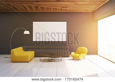Gray Living Room Interior, Toned