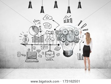 Businesswoman And Light Bulb, Light Background.