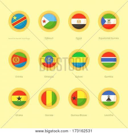 African Circular Flags (dr Congo, Egypt, Ethiopia)