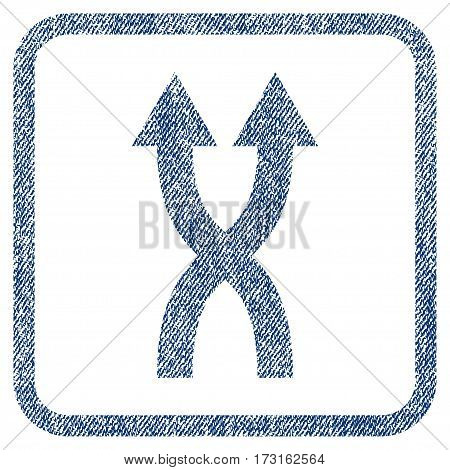 Shuffle Arrows Up vector textured icon for overlay watermark stamps. Blue jeans fabric vectorized texture. Symbol with dirty design inside rounded rectangle.