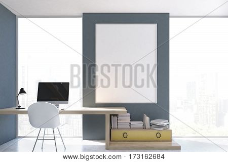 Stylish Workplace With Computer At Home, Gray