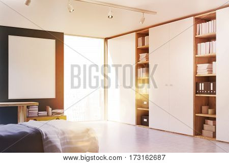 Gray Walled Bedroom With Bookcase, Toned