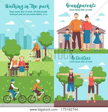 Conceptual composition of active senior people banners with flat faceless characters walking park outdoor sport activities vector illustration