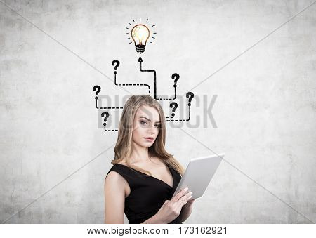 Portrait of a businesswoman with a tablet computer standing near a concrete wall with a labyrinth leading to question marks and a yellow light bulb sketch drawn on it.