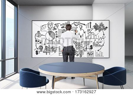 businessmen in a white office of a company with a large table a panoramic window and a victory sketch on a whiteboard. 3d rendering. Mock up.