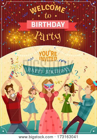 Birthday party announcement invitation card or poster  with sparklers bowers and joyful young people celebrating vector illustration