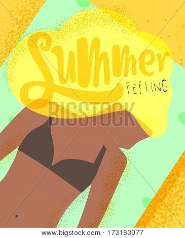 Summer feeling poster with sunbathing girls on the beach on the sun bright colorful modern style