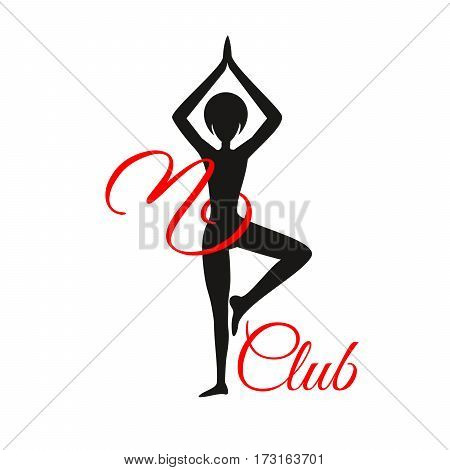 Sport club logo design template with woman silhouette in pose and om yoga sign, isolated element