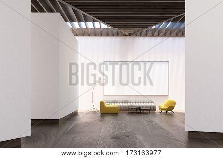 White Living Room Interior, Whiteboard, Front