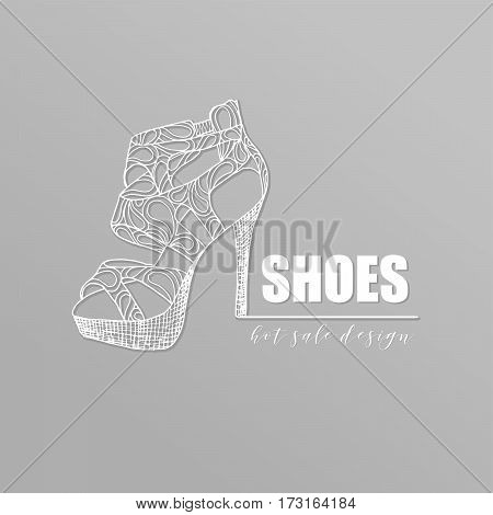 Grey banner with fashion woman footwear, trendy white lacy high heel shoes with shadow. For shop advertising