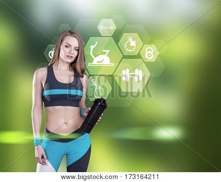 Girl With Yoga Mat And Sport Icons, Forest
