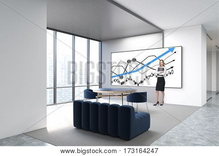 businesswomen in a white office and a victory sketch on a whiteboard. 3d rendering.