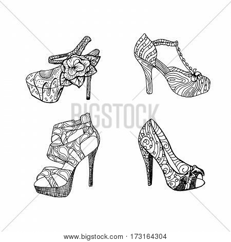 High-heeled shoes set for woman. Fashion footwear artwork in black style pattern fill. Isolated clipart for coloring book pages design