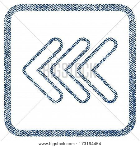 Triple Pointer Left vector textured icon for overlay watermark stamps. Blue jeans fabric vectorized texture. Symbol with dirty design inside rounded rectangular frame.