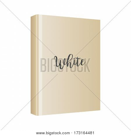 Vertical white book cover template in front side standing on white background, isolated perspective view. Vector mockup