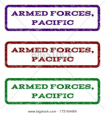 Armed Forces Pacific watermark stamp. Text tag inside rounded rectangle frame with grunge design style. Vector variants are indigo blue red green ink colors.
