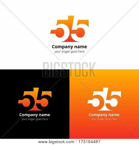 55 logo icon flat and vector design template. Monogram numbers five. Logotype fifty-five with orange gradient color. Creative vision concept logo, elements, sign, symbol for card, brand, banners.