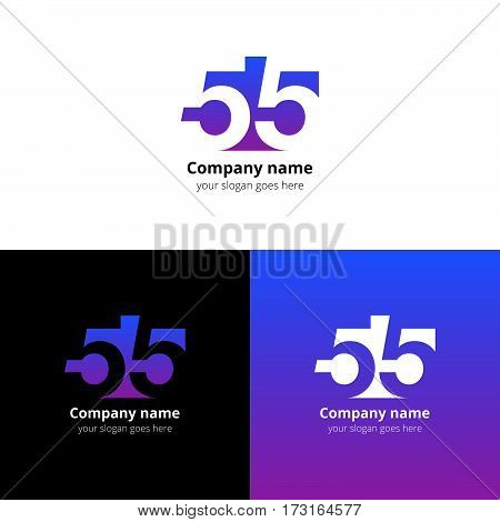 55 logo icon flat and vector design template. Monogram numbers five. Logotype fifty-five with violet-blue gradient color. Creative vision concept logo, elements, sign, symbol for card, brand, banners.