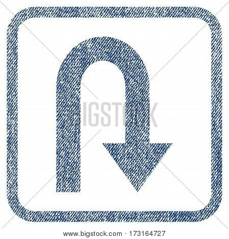 Turn Back vector textured icon for overlay watermark stamps. Blue jeans fabric vectorized texture. Symbol with scratched design inside rounded rectangle.