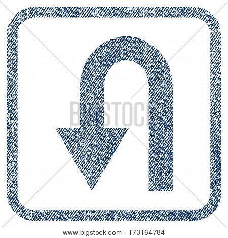 Turn Back vector textured icon for overlay watermark stamps. Blue jeans fabric vectorized texture. Symbol with dirty design inside rounded rectangular frame.