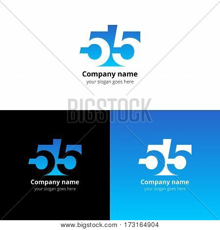 55 logo icon flat and vector design template. Monogram numbers five. Logotype fifty-five with light blue gradient color. Creative vision concept logo, elements, sign, symbol for card, brand, banners.
