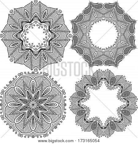 Set templates mandalas black. Decorative round ornaments. Weave design elements. Yoga logos, backgrounds for meditation poster. Unusual flower shape. Oriental vector