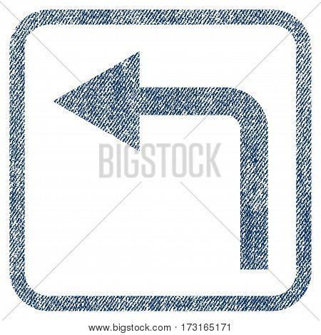 Turn Left vector textured icon for overlay watermark stamps. Blue jeans fabric vectorized texture. Symbol with scratched design inside rounded rectangle.