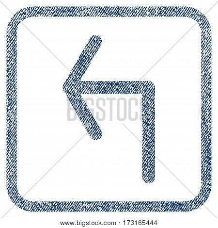 Turn Left vector textured icon for overlay watermark stamps. Blue jeans fabric vectorized texture. Symbol with unclean design inside rounded rectangular frame.