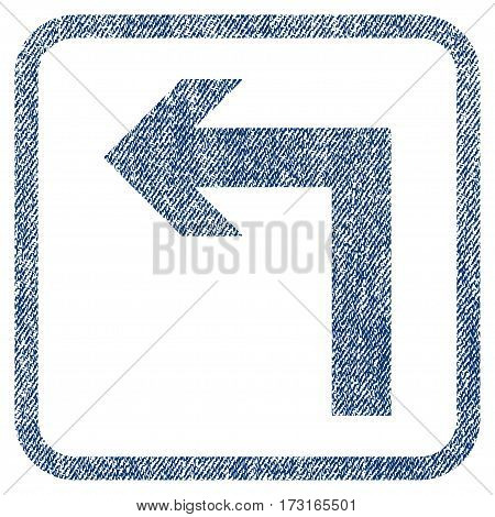 Turn Left vector textured icon for overlay watermark stamps. Blue jeans fabric vectorized texture. Symbol with unclean design inside rounded rectangle.