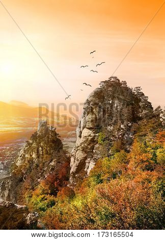 Birds over the Valley of Ghosts in Crimea
