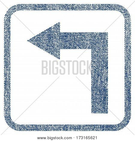 Turn Left vector textured icon for overlay watermark stamps. Blue jeans fabric vectorized texture. Symbol with dirty design inside rounded rectangle.