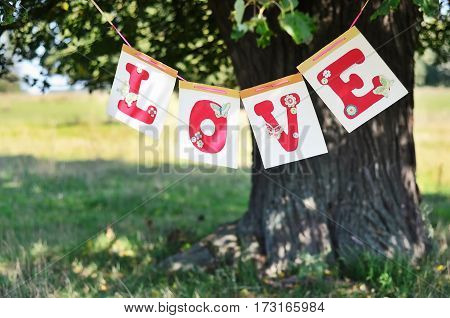 The word love from red letters hanging on the big tree in the summer