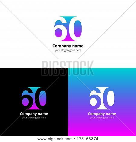 60 logo icon flat and vector design template. Monogram numbers six and zero. Logotype sixteen with green-pink gradient color. Creative vision concept logo, elements, sign, symbol for card, brand.